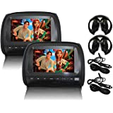 "Elinz 2x 9"" LCD Black Headrest DVD Player Car Monitor Pillow 1080P USB SD Sony Lens Headphones Car Chargers More Video…"