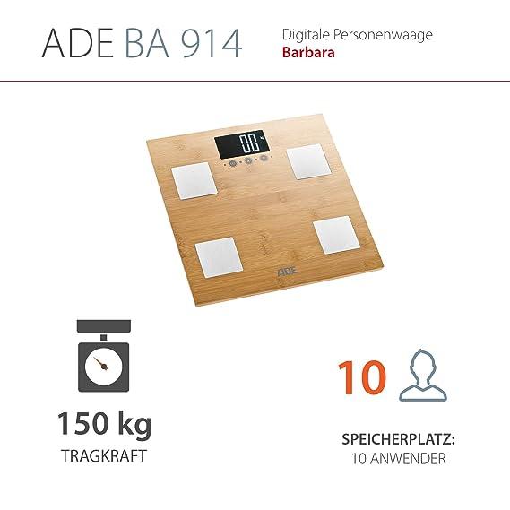 ADE Báscula digital de análisis corporal BA914 Barbara. En bambu certificado FSC. Capacidad 150kg. IMC-PGC-ACT Color madera: Amazon.es: Salud y cuidado ...