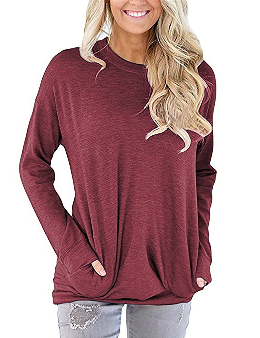 UXELY Banded Hem Tops for Women, Solid Color Tunic Shirt with Pockets,Wine Red XL
