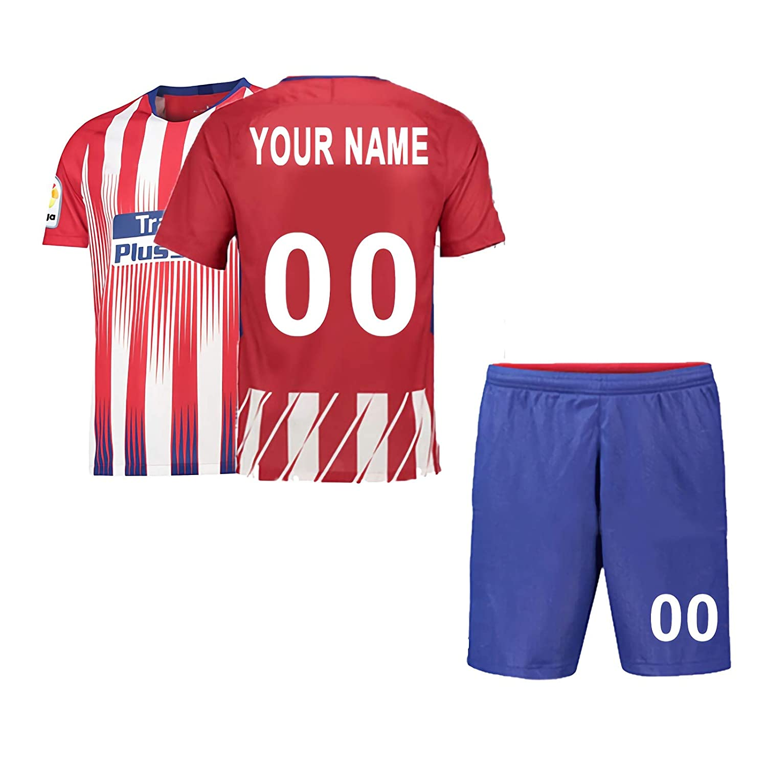 Personalised Football Jersey /& Shorts 2018-2019 New Season,Club Team Multiple Clubs Any Name and Number Customized Football Jersey for Kids Men Youth Home and Away