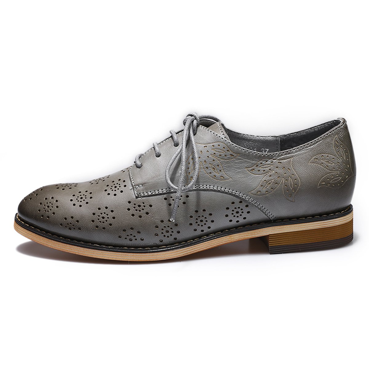 Mona Flying Women's Leather Flat Oxfords Shoes For Women Perforated Lace-up Wingtip Vintage Brogues Shoes,Grey,10 B(M) US by Mona Flying (Image #2)