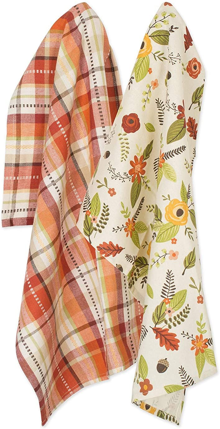 """DII Cotton Thanksgiving Holiday Dish Towels, 18x28"""" Set of 2, Decorative Oversized Woven Kitchen Towels, Perfect Home and Kitchen Gift - Fall In Love"""
