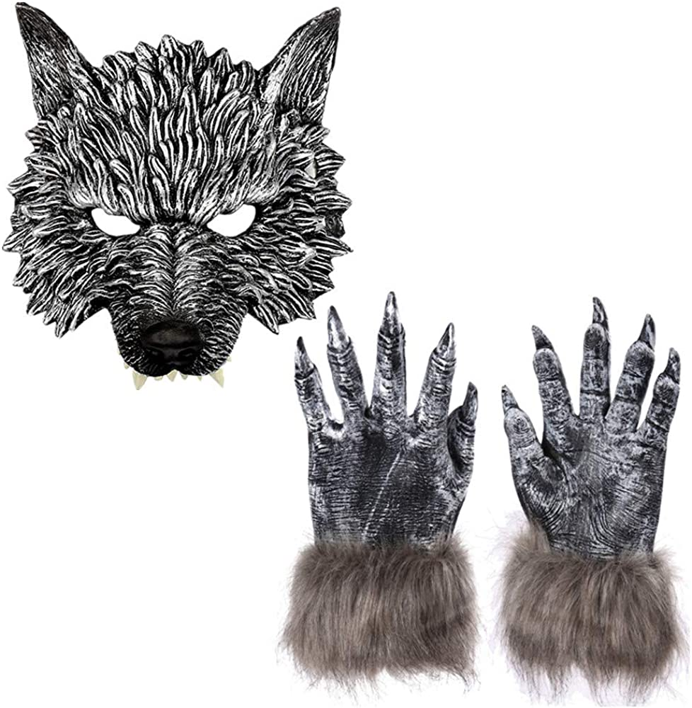 Adults Big Bad Wolf Werewolf Claws Gloves Paws Halloween Fancy Dress Hands New