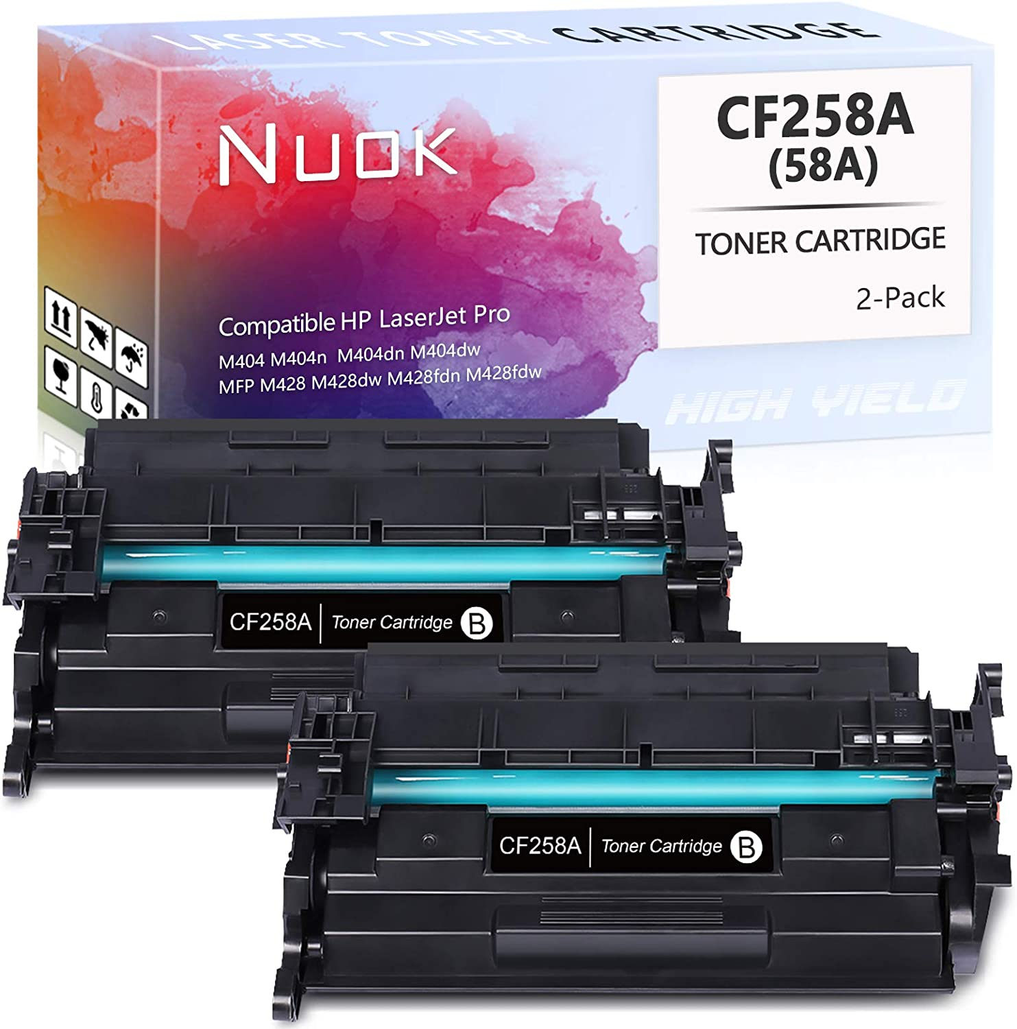 NUOK Compatible Toner Cartridge Replacement for HP 58A CF258A Black Toner Cartridge High Yield for HP LaserJet Pro M404 M404n M404dn M404dw MFP M428 M428dw M428fdn M428fdw Laser Printer, Black, 2-Pack