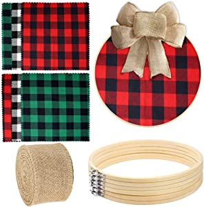 Caydo 6 Pieces 12 Inch Embroidery Hoops, 6 Pieces Plaid Fabric Christmas Fabric Squares and 1 Roll of Burlap Ribbon for Christmas Wreath and Christmas Decoration