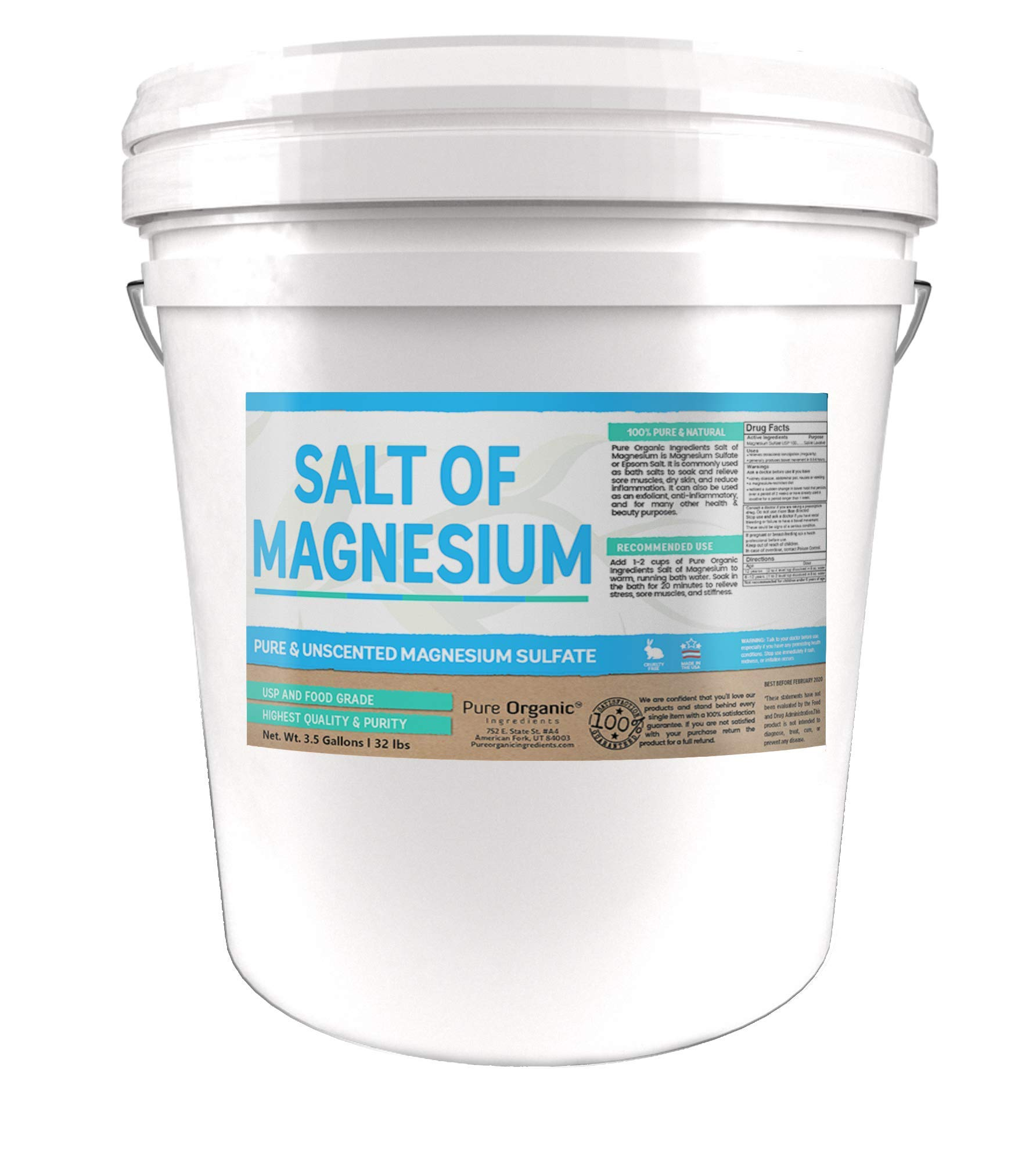 Salt of Magnesium: Pure Epsom Salt (3.5 Gallon Bucket, 32 lbs) by Pure Organic Ingredients, USP & Food Grade, Unscented, Soothes Sore Muscles, Natural Exfoliant, Anti-Inflammatory by Pure Organic Ingredients