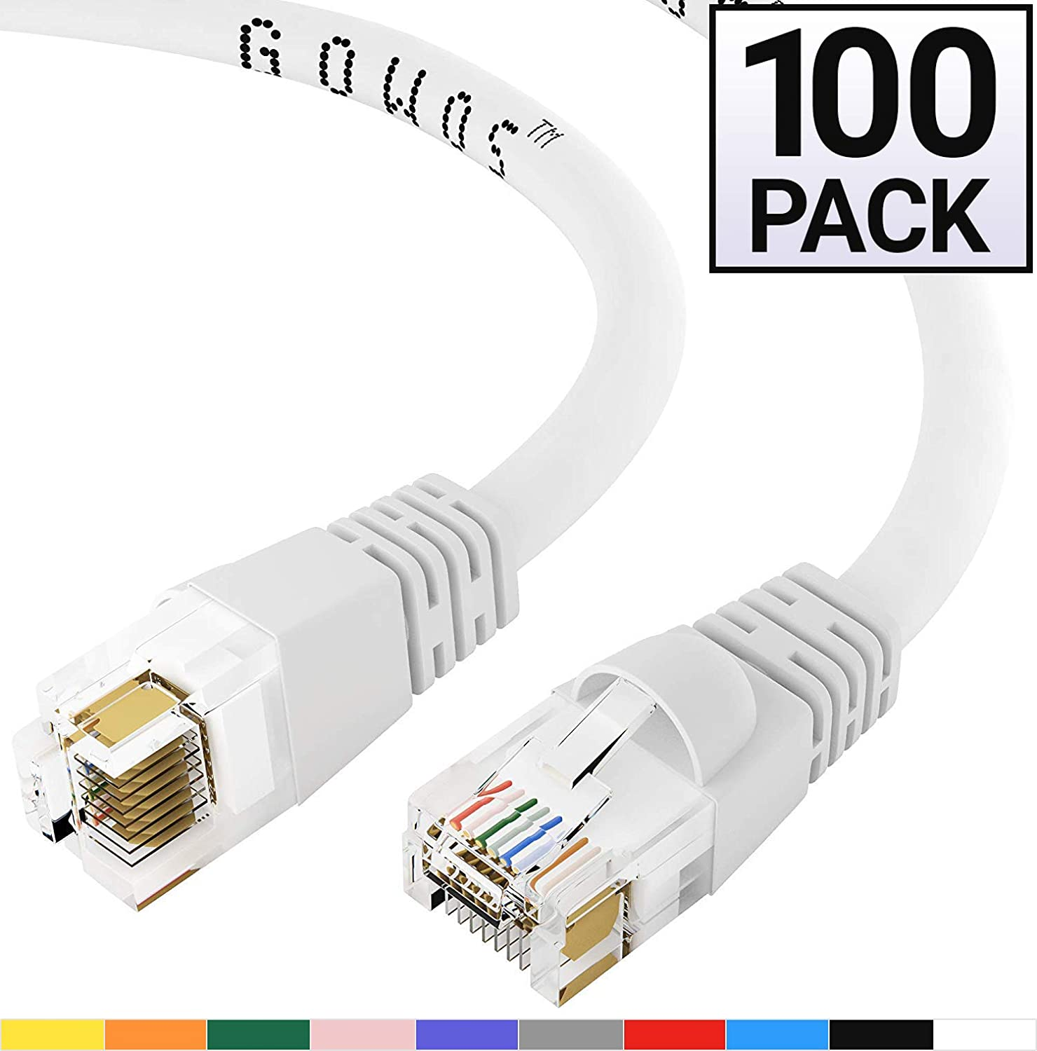 Available in 28 Lengths and 10 Colors Computer Network Cable with Snagless Connector Cat6 Ethernet Cable RJ45 10Gbps High Speed LAN Internet Patch Cord 20 Feet - Blue UTP GOWOS 10-Pack