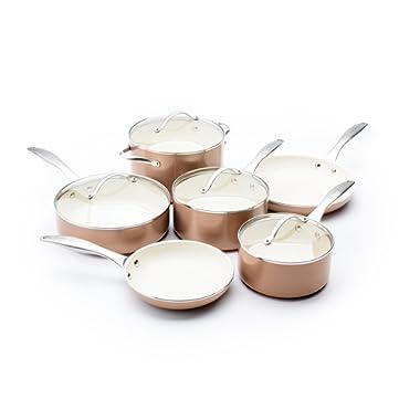 Trisha Yearwood Royal Precious Metals 10 Piece Non-Stick Ceramic Cookware Set, Copper