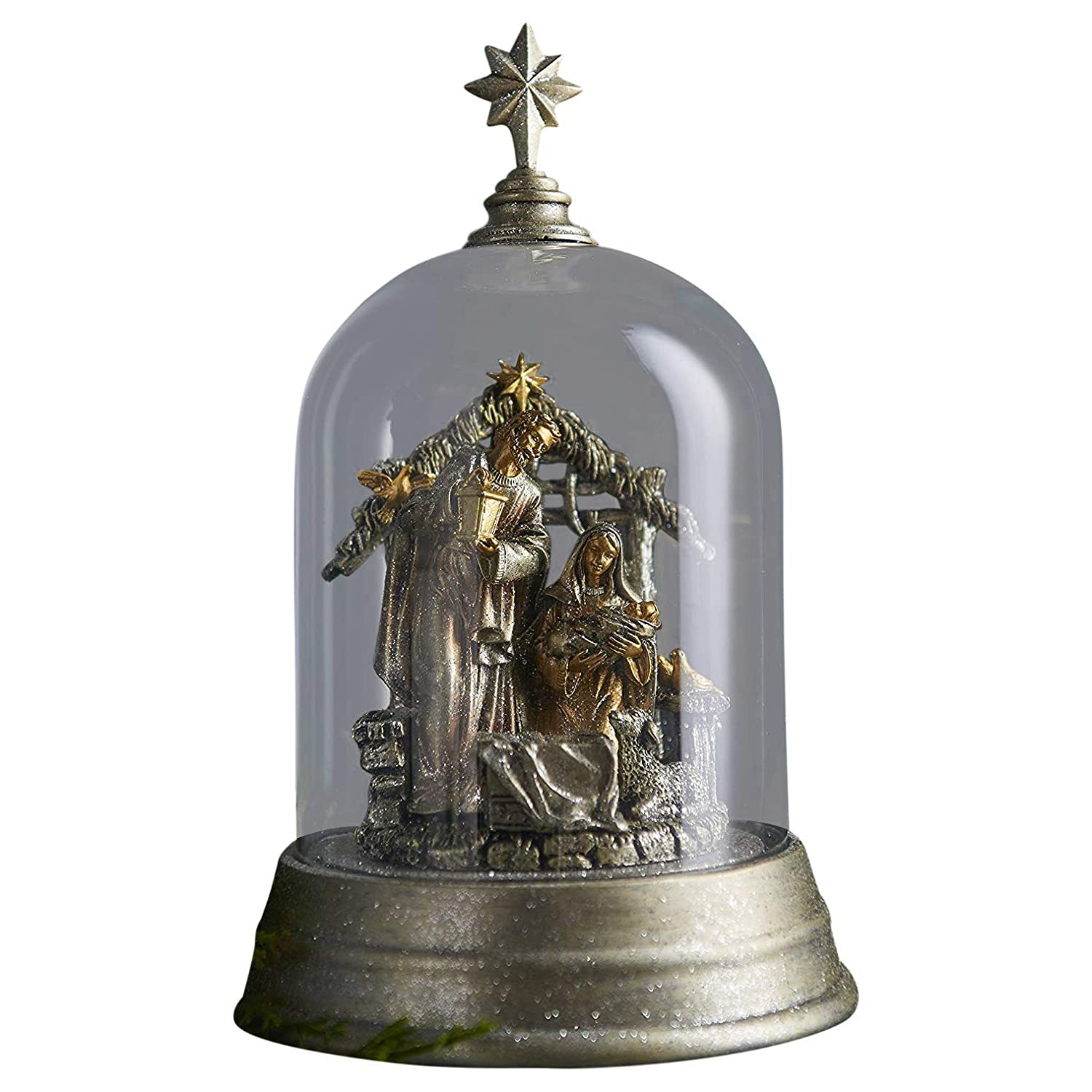 Religious Nativity Scene Set in Enclosed Star-Topped Dome in Platinum and Silver, 9 1/2 Inch Raz Imports