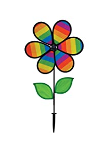 "In the Breeze 2792 Rainbow Stripe Flower Spinner with Leaves, 12"" Diameter w"