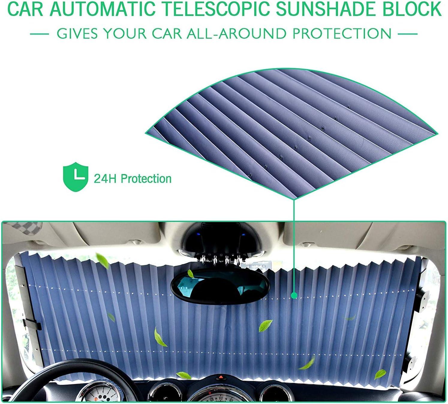 ZKOOO Telescopico Anteriore Parasole Tendina Automatica Parabrezza Protezione UV Retraibile Pieghevole Visiera Estivo