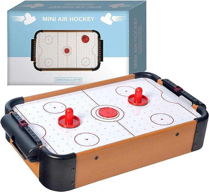 Original Cup - Mini Mesa de Hockey de Aire, Juego Completo, 1 x Mesa + 2 x paletas + 2 x Discos + 1 x Motor neumático: Amazon.es: Juguetes y juegos