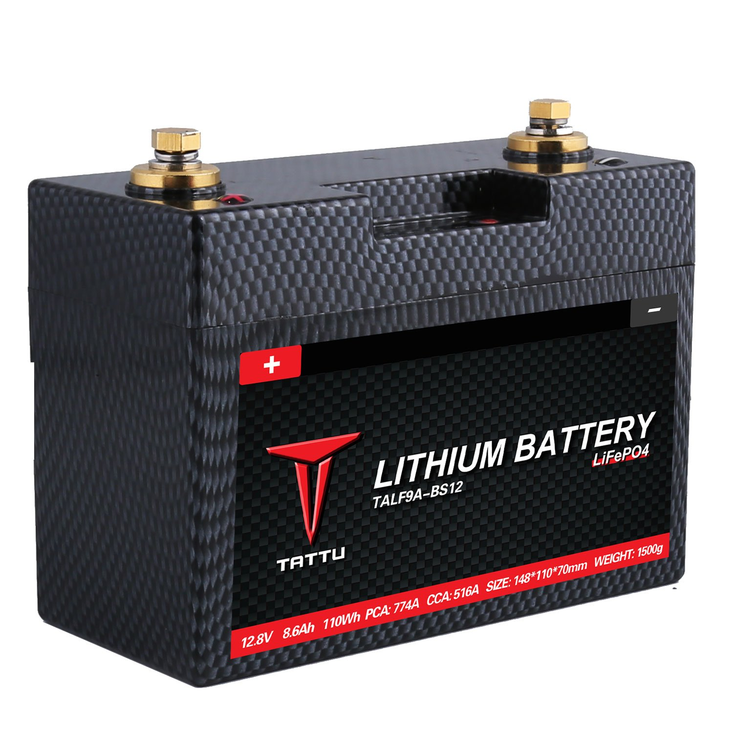 Clearance sale-Tattu LiFePO4 12V 8.6A Motorsport Street Bike Replacement Lithium Iron Phosphate Starting Battery for Power Sports Motorcycles Racing Lawn Mowers Scooters Utility Vehicles and Dirt Bike by TATTU