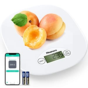 Phansra Smart Food Scale, Bluetooth Digital Kitchen Scale for Baking Cooking with Nutritional Calculator for Keto, Macro, Calorie and Weight Loss with Smartphone App, Composite White