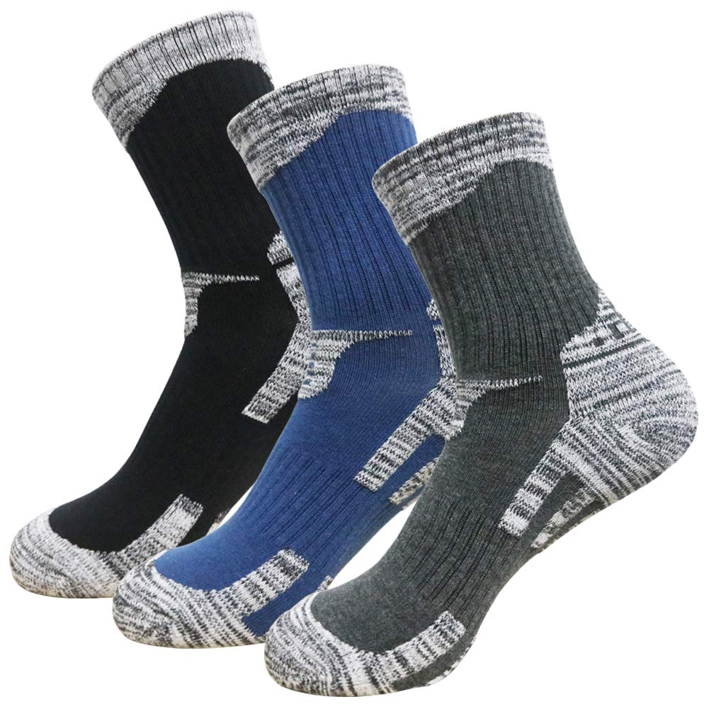 Moisture Wicking,Multi Performance Hiking Trekking Walking Athletic Socks Breathable GINZIN Mens Outdoor Socks//No Blister Terry Cushion