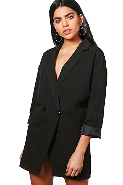 Para mujer negro bella Blazer vestido Negro negro