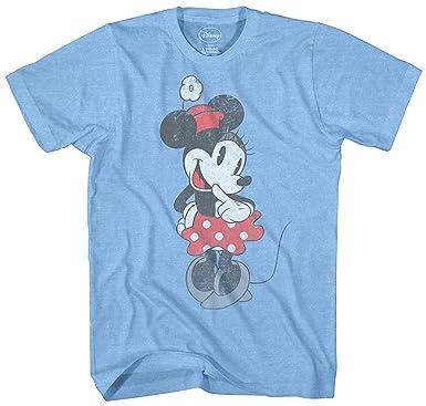 ce23177a3fb4 Amazon.com: Disney Shy Minnie Mouse Graphic Tee Classic Vintage Disneyland  World Mens Adult T-Shirt Apparel: Clothing
