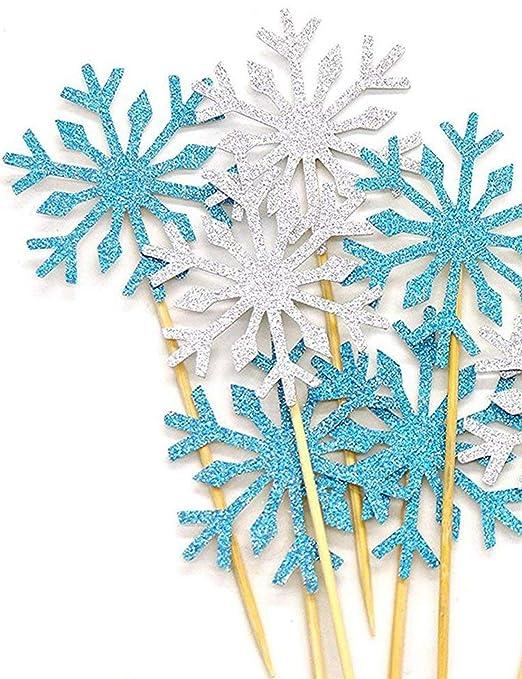 Alohha - 40 púas decorativas para tartas de copos de nieve ...