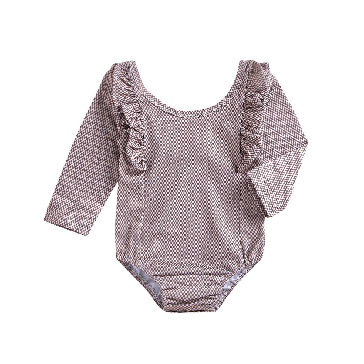 Color : Brown, Size : 90cm HUHUXXYY Newborn Baby Girls Long Sleeves Plaid Ruffles Jumpsuit Plaid Round Neck Romper Sanp Opening Pajamas Girls Daily Outfits