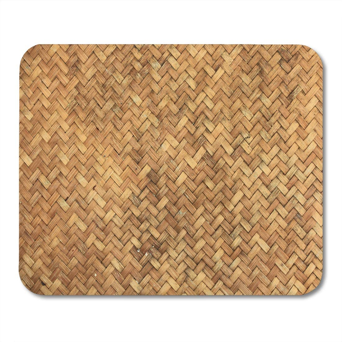 Desktop Computers mats 9.5 x 7.9 Office Supplies Emvency Mouse Pads Pattern Brown Basket Bamboo Woven Chinese Rustic Straw Wooden Mouse Pad for notebooks