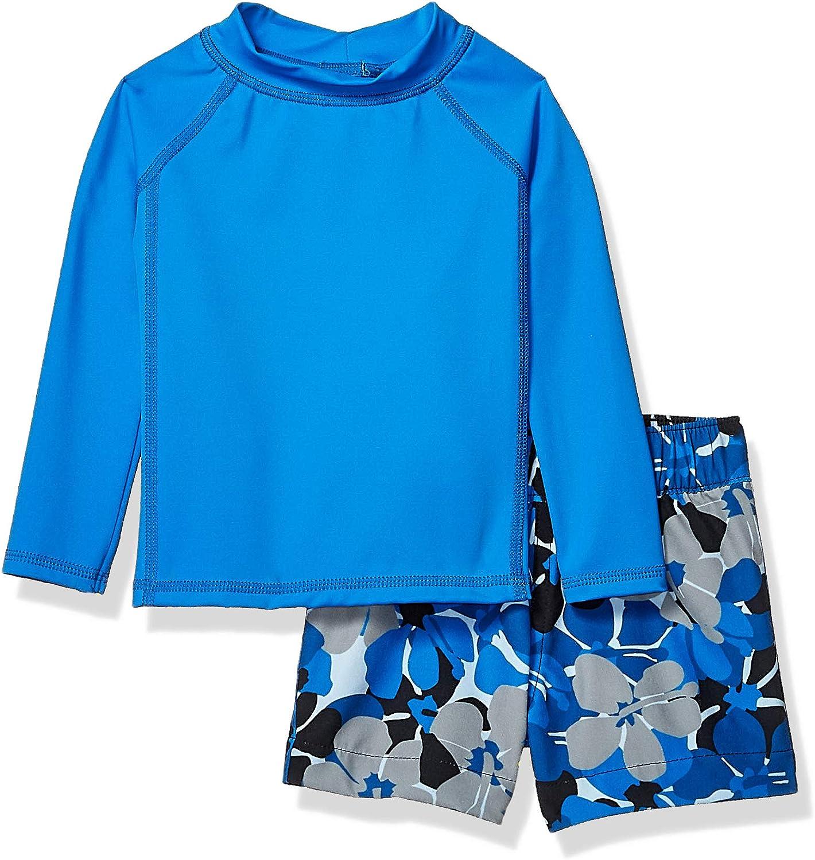 Amazon Essentials Baby Boys Long-Sleeve Rashguard and Trunk Swimsuit Sets