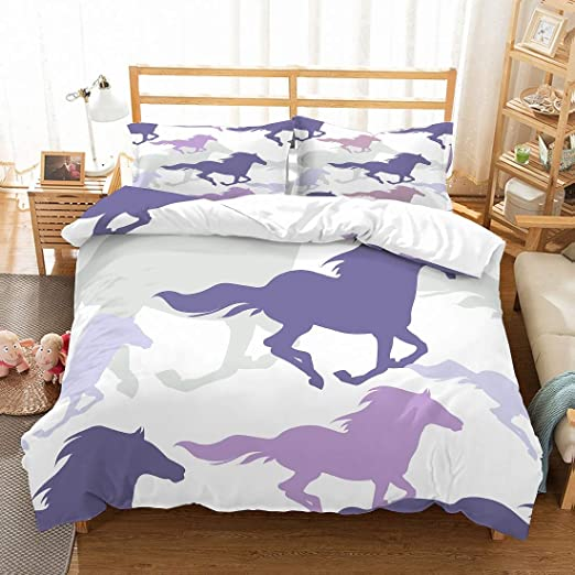 Horse Toddler Bedding White