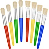 Paint Brushes for Kids, 8 Pcs Big Washable Chubby Toddler Paint Brushes, Easy to Clean & Grip Round and Flat Preschool Paint