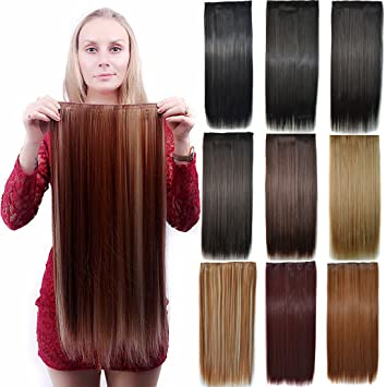 Amazon.com   Doren Clips in Hair Extensions 24 inches 3 4 Full Head Clips  on Long Straight Synthetic Hair Pieces for Women 5 Clips 120g-27  Color    Beauty d4c044734f