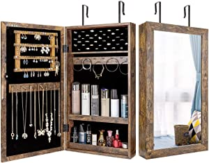 Homde Lockable Jewelry Cabinet Armoire Wall-Mounted with Mirror Jewelry Storage Organizer (Rustic Brown)