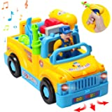 HOMOFY Baby Car Toys ToddlersTruck Tools Toys Multifunctional Construction Take Apart Toy - for Kids Toys Age 2,3,4,5 Electric Drill and Power Tools for Assembling,Music & Lights,Bump and Go!