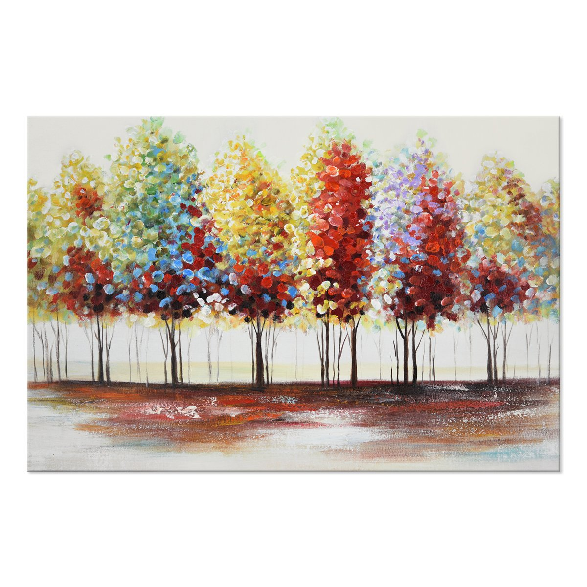 SEVEN WALL ARTS 100/% Hand Painted Oil Painting Landscape Abstract Colorful Trees with Stretched Frame 60x90cm