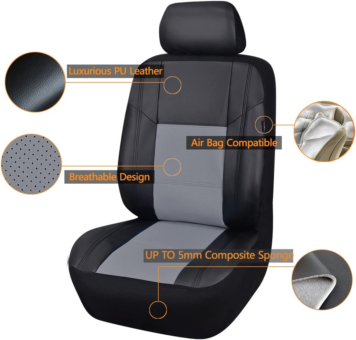 11 Piece Brown by CAR PASS CAR PASS PU CP-SC-0079 Leather Universal Seat Covers Set