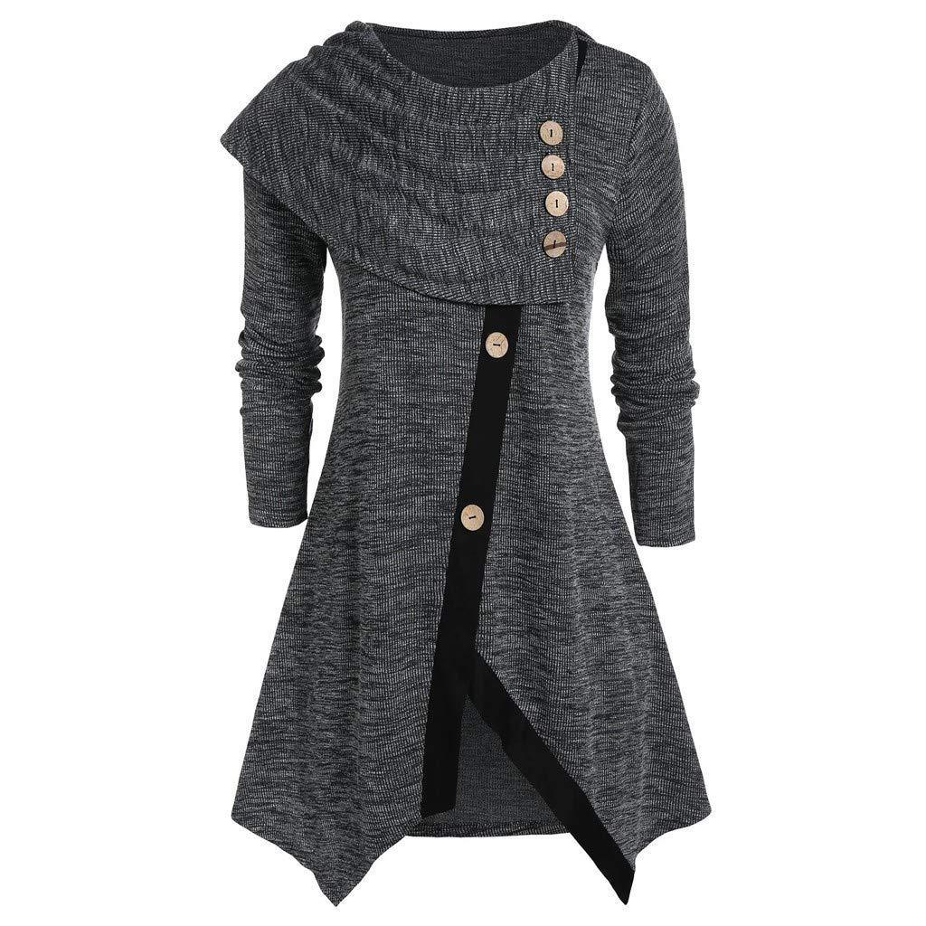 Shusuen Women Long Sleeve Hooded Asymmetric Hem Casual Tunic Button Decored Sweatshirt High Low Hem Pullover Grey by Shusuen_Clothes