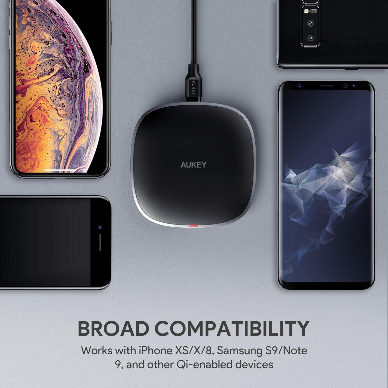 AUKEY Cargador inalámbrico rápido de 10 W, Wireless Charger USB C Cable para Samsung S9/S9+, admite 7,5 W de Potencia para iPhone X/8 Plus y 5 W para ...