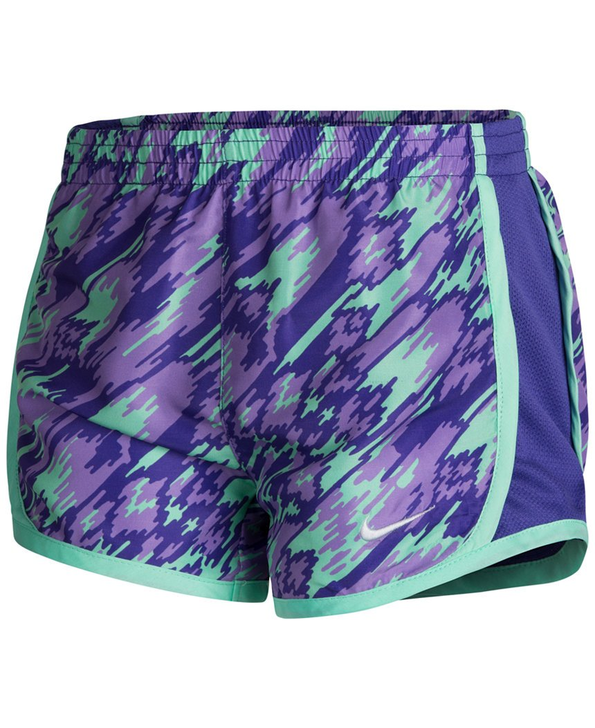 Nike 3.5'' Girls Tempo Running Shorts (6X, Urban Lilac (P45) / Green/White/Urban Lilac) by Nike