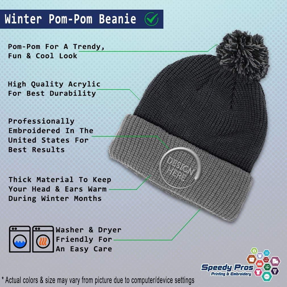 Custom Pom Pom Beanie Trumpets Embroidery Skull Cap Winter Hat for Men /& Women