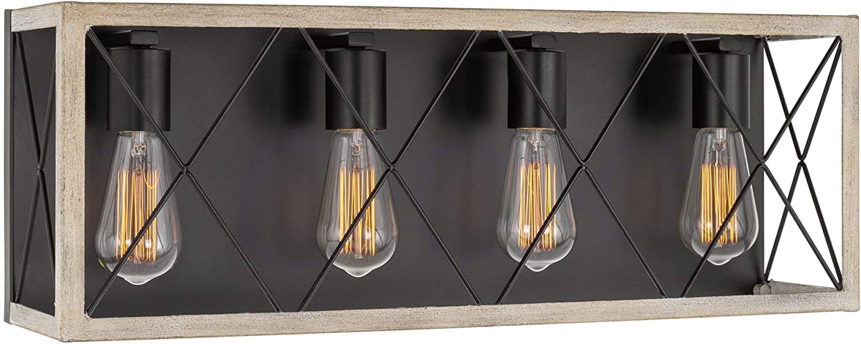 "Kira Home Westlake 24"" 4-Light Farmhouse Vanity/Bathroom Light + Lattice Cage Design, Black + White Birch Wood Style Finish"