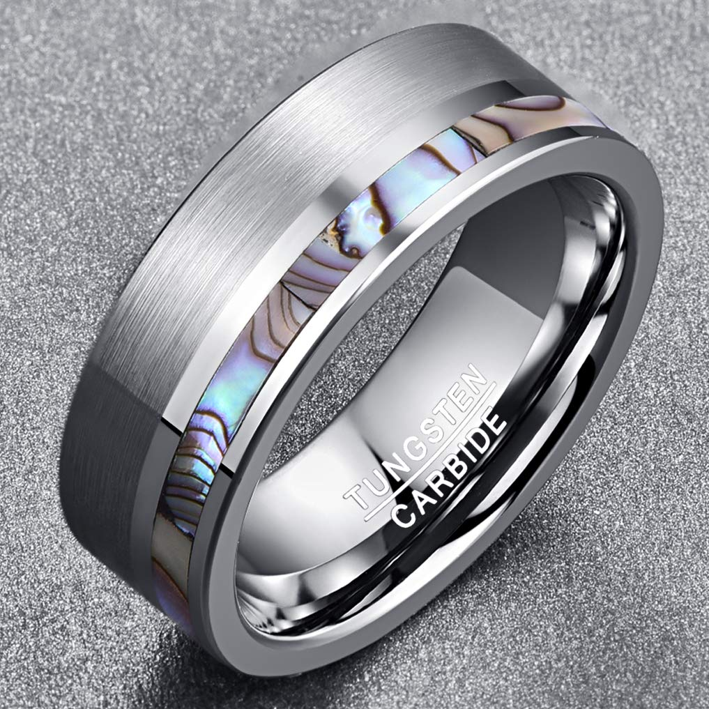 NUNCAD Mens 8MM Natural Abalone Shell Tungsten Carbide Ring Brushed Finish Polished Center Flat Edges Comfort Fit Size N/½ to X/½