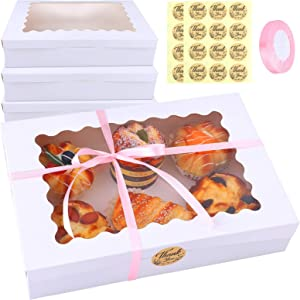 Ruisita 15 Pack Pie Boxes Bakery Boxes with Window Kraft Cookie Boxes Auto-popup Treat Boxes Cookie Gift Boxes Rectangular 12 x 8 x 2.5 Inch for Pies, Cakes, Pastries, Donuts and Muffins