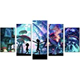 33wallart Large Modern Wall Art Canvas Print Decor Large 5 Piece Abstract Blue Fantasy Landscape Picture Framed Artwork Ready to Hang for Living Room Home