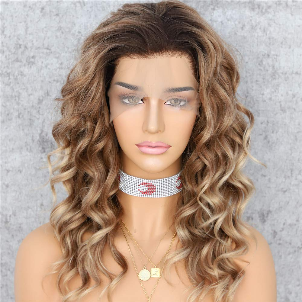 Sapphirewigs Dark Roots Ombre Brown Color Curly No-Tangle Glueless Women Party Daily Makeup Cosplay Party Women Fashion Synthetic Lace Front Wigs