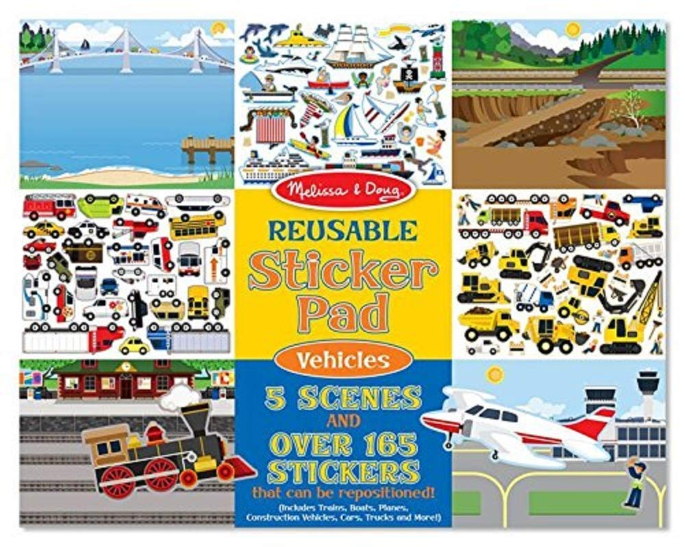 Melissa & Doug Reusable Sticker Pad: Vehicles - 165+ Reusable Stickers With Gift Cards