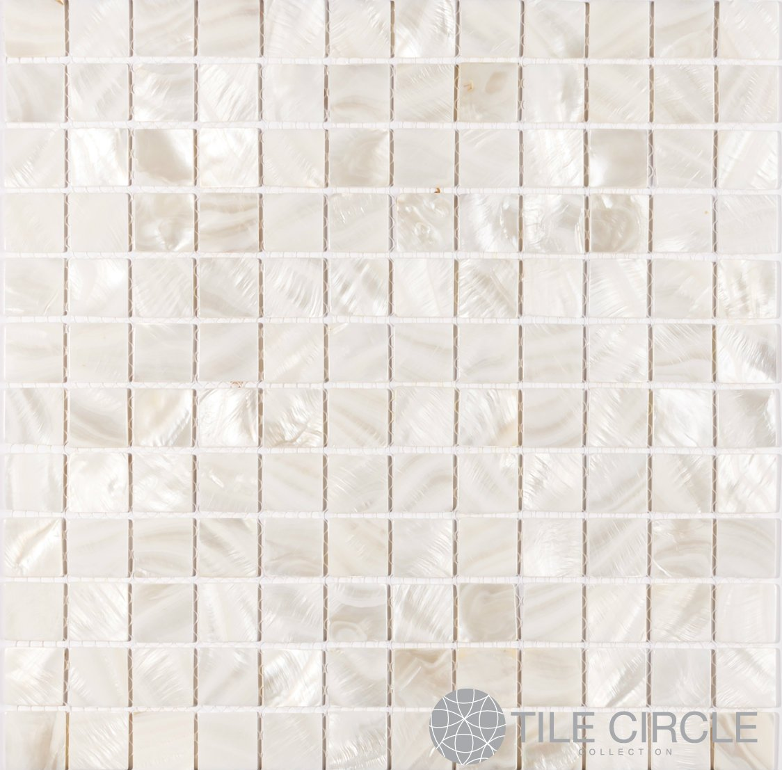 Mother of Pearl Shell Tile White 1'' X 1'' Squares (On a 12'' X 12'' Mesh) for Backsplash and Bathroom Walls and Floors