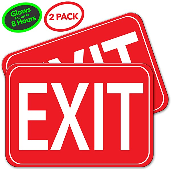 Low Proximity Photoluminescent Exit Sign Running Man 15 x 6 Aluminum Code Approved ASTM E2072 IBC 2012//NFPA 101 2012 NightBright USA NYRM-008 Left Down Arrow