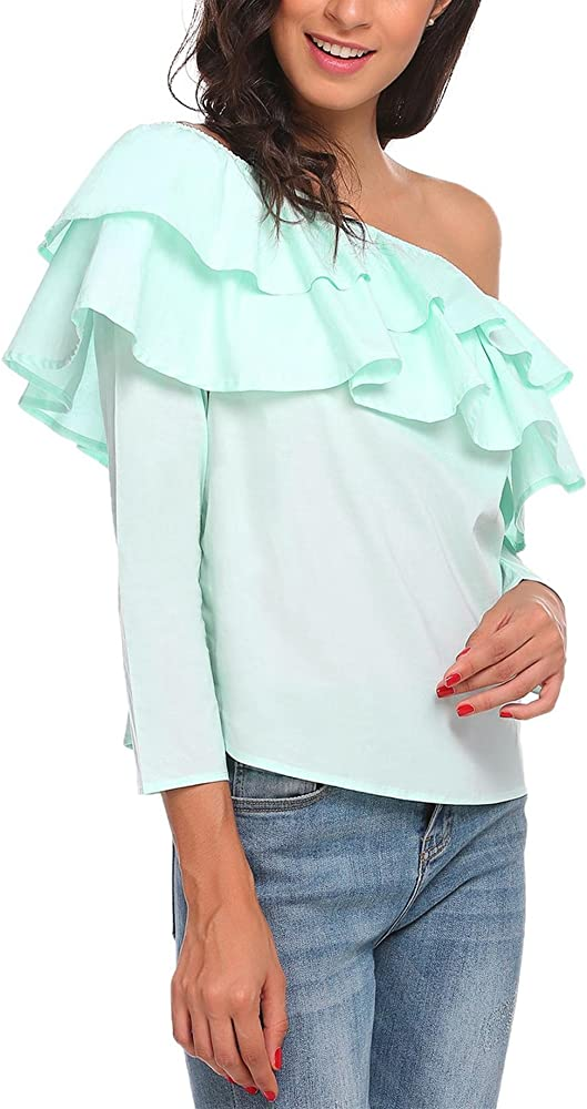 Meaneor Camiseta Mujer con Manga Volante Sin Hombro Color Solido Azul XL: Amazon.es: Ropa y accesorios