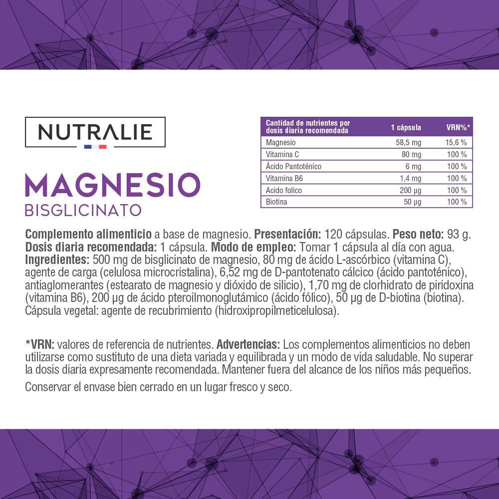 Magnesio con Vitaminas B6 y C | Bisglicinato de Magnesio 100% Biodisponible | 120 Cápsulas de 750 mg | Nutralie: Amazon.es: Salud y cuidado personal