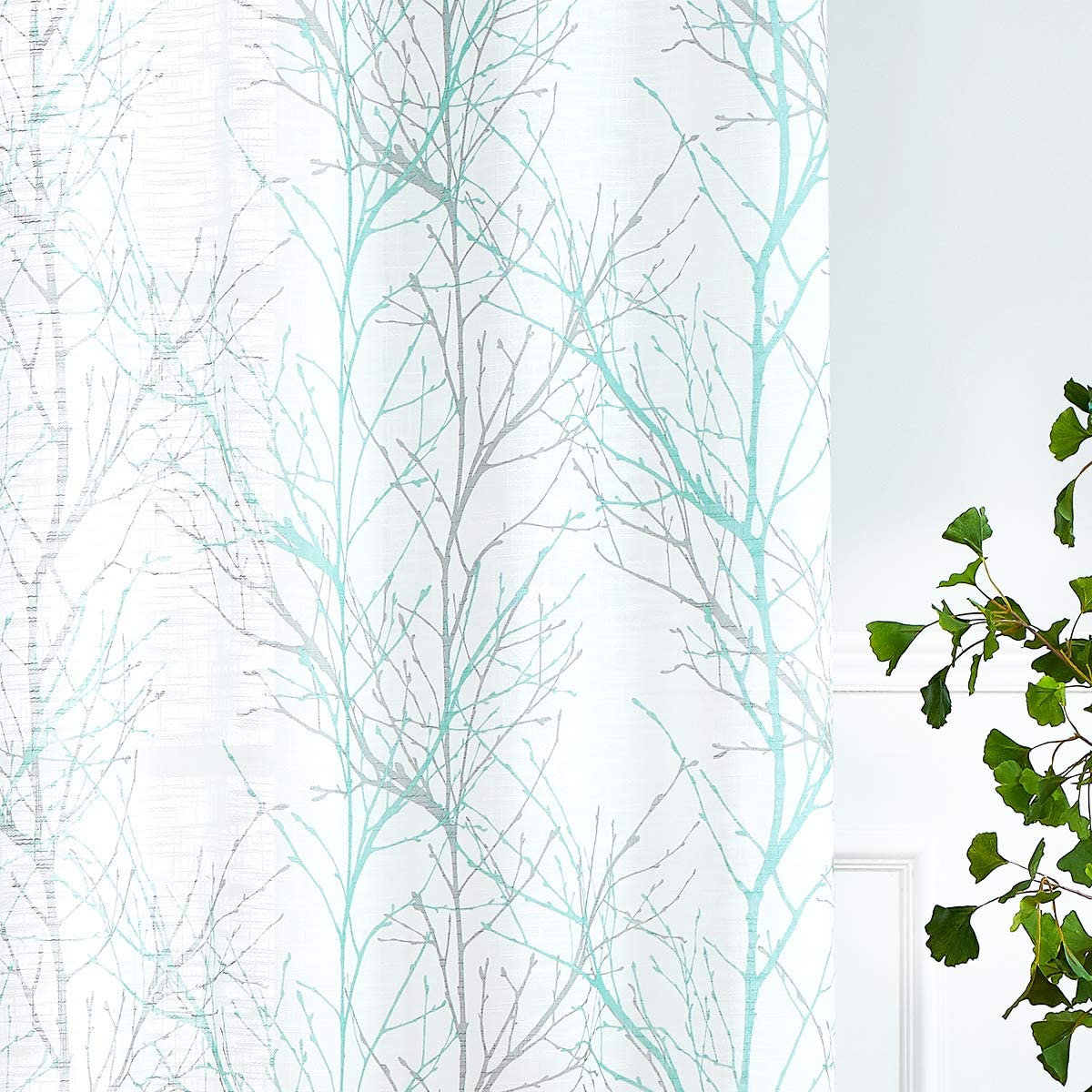 """Auqa Blue White Curtains for Kitchen Living Room 72"""" Grey Tree Branches Print Curtain Set for Small Windows Privacy Linen Textured Semi-Sheer Drapes for Bedroom Wrinkle Free Grommet Top, 2 Panels"""