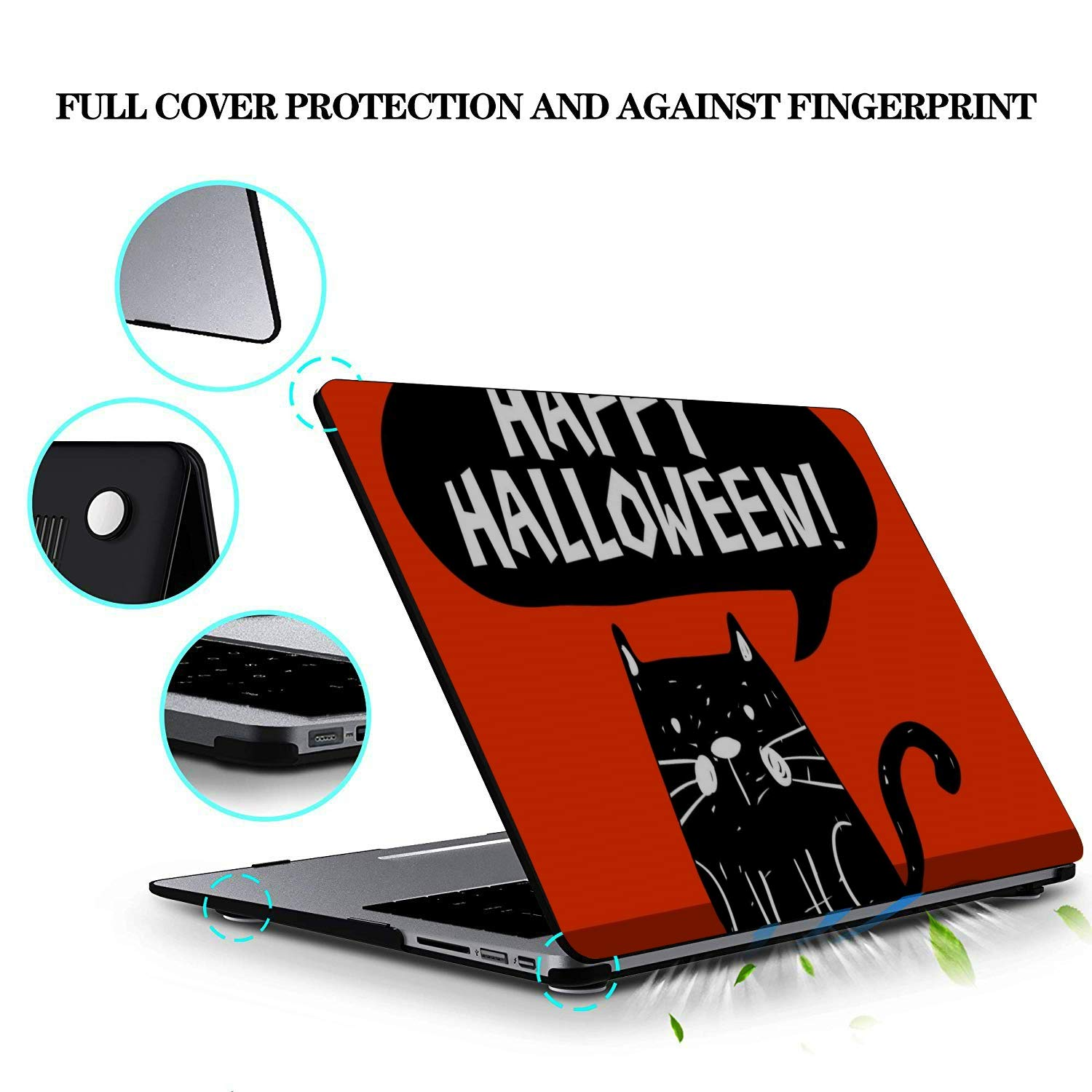 Mac Book Air Case Cartoon Cute Cat with English Words Plastic Hard Shell Compatible Mac Air 11 Pro 13 15 Case MacBook Pro 15 Protection for MacBook 2016-2019 Version