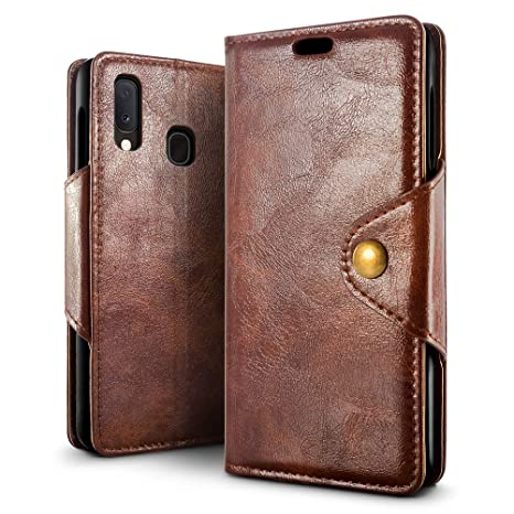SLEO Funda para Samsung Galaxy A20e Cuero Funda [ Ranuras para Tarjetas] [Cierre Magnético] Soporte Plegable Flip Case Protección De Cuerpo Completo ...