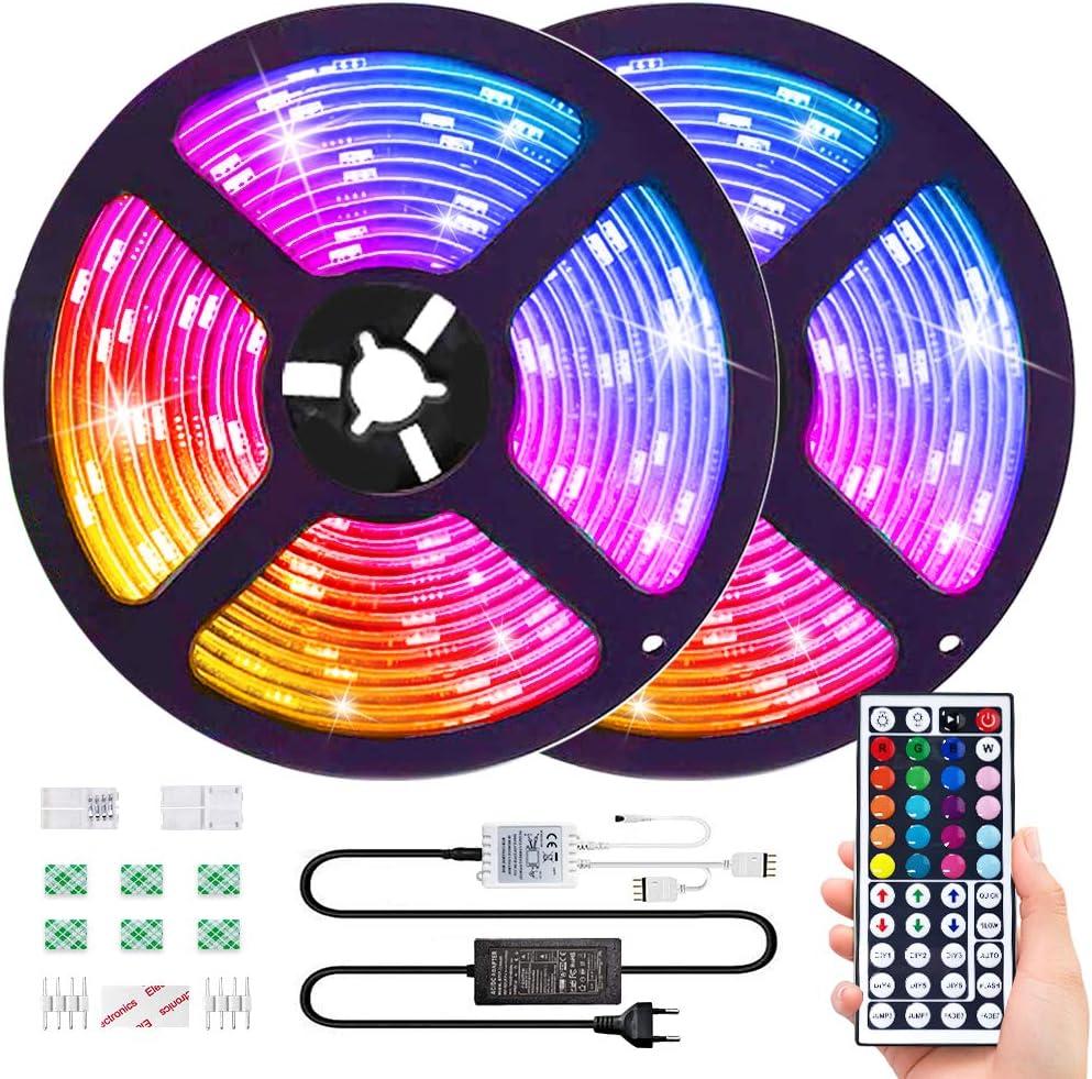 10M RGB Tira de LED 12V con Chip SMD 5050, ESEYE IP65 Impermeable Flexibles Multicolor 300 LEDs Strip Tiras Con Mando a Distancia y Adaptador Corriente Luce de LEDPara TV/Fiestas/Luz Ambiental